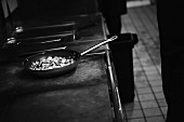 A pan on a hot stove