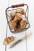 Jerusalem artichokes in a wire basket