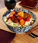 Egg fried rice with hoisin sauce, pineapple and vegetables (Asia)