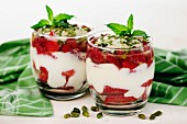 Greek yogurt with strawberries and pistachio nuts