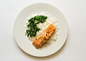 Salmon fillet with rice and spinach