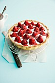 Buttermilk tart with strawberries