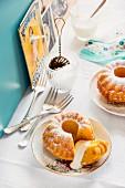 Mini pumpkin Bundt cakes with white chocolate cream