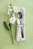 Matthiola and a napkin with a silver spoon