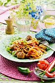 Pasta with tuna dumplings and tomato sauce