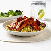 Chicken fillets with a chilli and garlic marinade on a bed of couscous