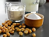 Ingredients for making macadamia nut ice cream