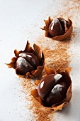 Chocolate chestnuts in chocolate leaves