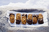 Muesli bars with chocolate glaze