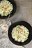 Vegetable rice with mushrooms and walnuts