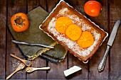 Persimmon and vanilla cream tart with cocoa butter