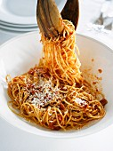 Spaghetti amatriciana with Parmesan cheese