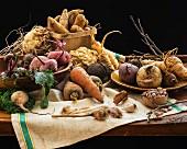 An arrangement of root vegetables