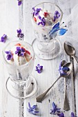 Two ice cream sundaes with vanilla ice cream, fruit jelly and blueberries, and decorated with sugared violets