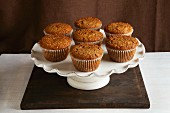 Bran muffins on a cake stand