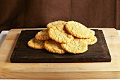 Lemon biscuits on a chopping board