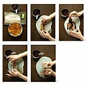 Chinese pancakes being filled with vegetarian Peking duck next to a dish of sweet bean sauce