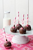 Five raspberry chocolate cake pops on a cake stand with a bottle of milk in the background