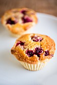 Two raspberry muffins