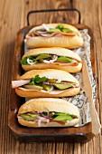Ham, avocado and red onion rolls