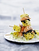 Salmon and polenta skewers