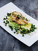 Chicken breast with white cabbage and peas
