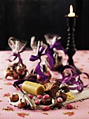 Christmas sweets in small cellophane bags with ingredients for making them