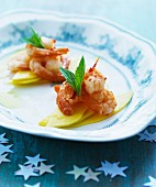 Chilli prawns on mango