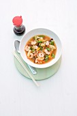 Vegetable soup with pineapple and prawns (Asia)