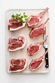 Fresh lamb chops and steaks