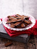 Chocolate biscuits with chocolate glaze