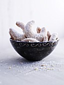 Vanilla crescent biscuits in a ceramic bowl