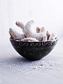 Vanilla crescent biscuits in a ceramic bowl