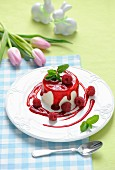 Panna cotta with raspberries for Easter