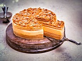 Layered German honey cake, sliced