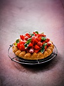 Strawberry cake with basil