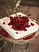 Lingonberry and cinnamon ice cream decorated with lingonberries a silver sugar pearls