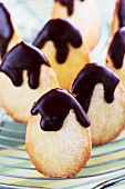 Easter butter biscuits topped with dark chocolate glaze