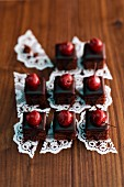 Sour cherry and chocolate petit fours