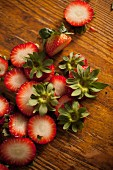 Strawberry tops and leaves
