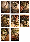Roast chicken with herbs being made