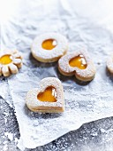 Jammy shortbread biscuits with yellow jam