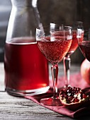 Prosecco and pomegranate drinks
