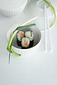 Maki sushi: Salmon with cucumber and tuna fish with a leak (Negi)