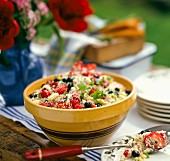 Couscous salad with berries for a barbecue party