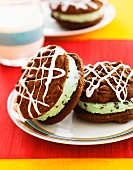 Mint chocolate ice cream sandwiches