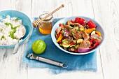 Honey-glazed pork fillet, vegetables and rice