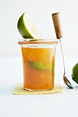 A jar of apricot and lime marmalade