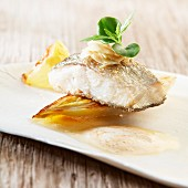 Trout with almonds and roast chicory