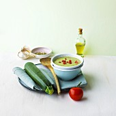 Courgette soup with tomatoes